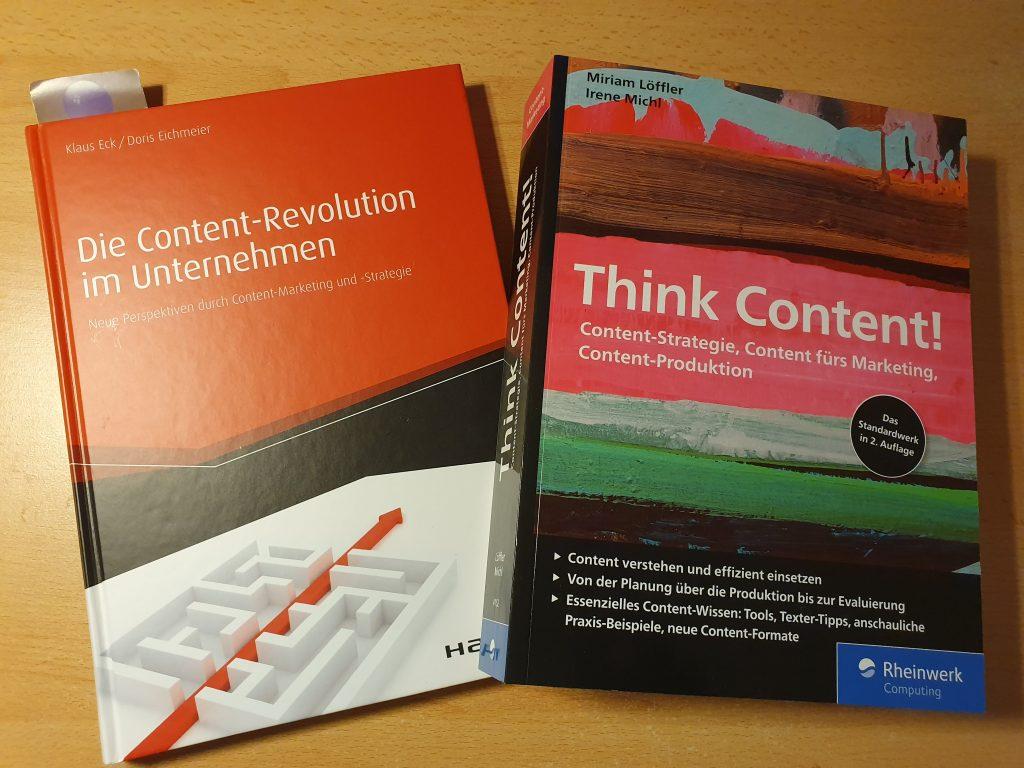 """Bild zeigt die beiden Bücher """"Die Content-Revolution im Unternehmen"""" und """"Think Content!"""""""